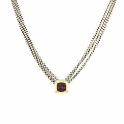 David Yurman Sterlingsilver 18k Yellowgold 3 Cable Chains Albion Garnet Necklace