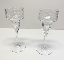 Mikasa Brooke Pair Candlestick Holders Clear Crystal Glass Art Deco 8andrdquo Germany
