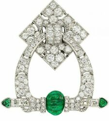 French Antique Vintage Style Green Emerald Bead With Bright White Cz Brooch Pin