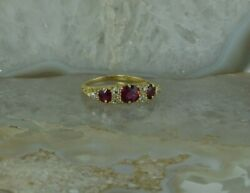 Vintage 18k Yellow Gold Blood Red Ruby And Diamond Ring Size 4.5 Circa 1940