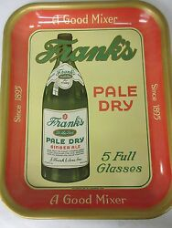 Original Vintage 1940and039s Franks Pale Dry Soda Pop Serving Tray Sign  520-s