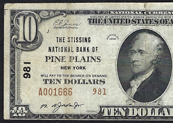 Ny 1929 10 T-2 ♚♚pine Plainsnew York♚♚the Stissing Nbvery Rare One Bank Town