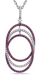 1.67ct Diamond And Aaa Ruby 18kt White Gold 3d Intertwining Oval Floating Pendant