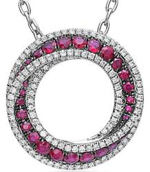 Estate 1.85ct Diamond And Aaa Ruby 18k White Gold Circle Of Life Love Knot Pendant