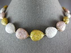 EXTRA LARGE 65.56CT WHITE PINK & CANARY DIAMOND 18KT TRI COLOR GOLD FUN NECKLACE