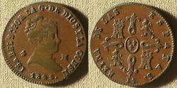 Spain1845 4 Mar. Xf-/xf+ Struck On Cracked Or Laminated Pl 530.2 Ir7662