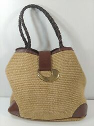 Dillards Italy Woven Straw amp; Brown Leather XL Shoulder Bag Bucket Purse Shopper $34.47