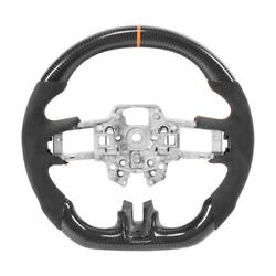 Carbon Fiber Steering Wheel W/orange Stitching For Ford Mustang Ecoboost Gt 2018