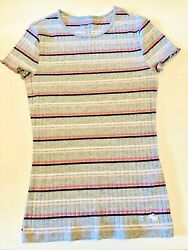 Abercrombie Fitch Kids Girls Striped Soft Shirt Moose Logo 13 14 NWOT