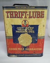 Vintage Advertising Thrift Lube Motor Oil 2 Gallon Can Tin 180-x
