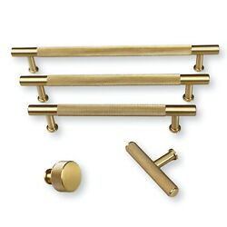 Solid Brushed Brass Texture No. 2 Knurled Drawer Pulls And Knobs - Hardware