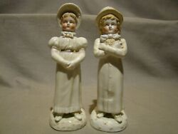 Antique Staffordshire Pair Boy And Girl In Top Hat And Bonnet Figurine 7 3/4 C.1830