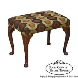 Antique Queen Anne Mahogany Stool Possibly 18th Century