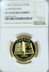 1982 Canada Gold 100 Constitution Ngc Pf 70 Ultra Cameo Scarce Perfection