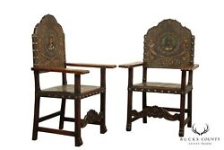 Spanish Renaissance Revival Antique Walnut And Embossed Leather Pair Armchairs