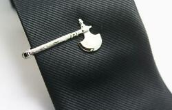 Men's Stylish Axe Design Tie Clips In Real 925 Sterling Silver