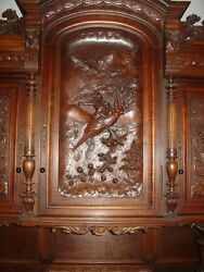 Antique Heavily Carved Wood Figural Sideboard Cabinet Lions Maidens Griffin