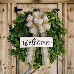 """Fall Wreath For Front Door. Farmhouse 14"""" Small Wreath With Burlap Bow. Boxwood"""