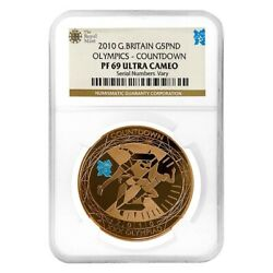 2010 Great Britain Proof Gold 5 Pounds Olympics Countdown Ngc Pf 69 Ucam
