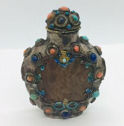 Antique Chinese Sterling Silver Carved Wood Coral Turquoise Lapis Snuff Bottle