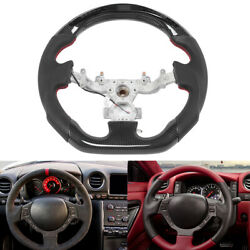 Carbon Fiber Perforated Led Car Steering Wheel Fit For Nissan Gt-r R35 2009-2016