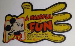 Rare Disney C.1935 Mickey Mouse Handful Of Fun Die-cut Interactive Booklet