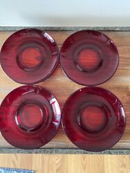 """Set Of Four Ruby Red Plates 5 7/8"""" Diameter"""