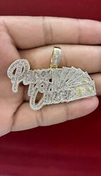 Men#x27;s 14K Yellow Finish Hand Set PAPER CHASERS Baguette Bust Down Pendant Charm $89.80