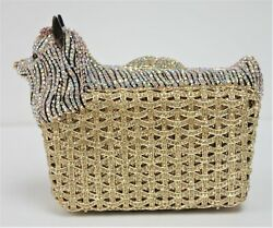 Yorkie Swarovsky Gold Crystal Purse New With Gold Chain