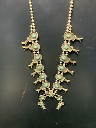 Rare Vintage Navajo Sterling Silver And Turquoise Squash Blossom Necklace