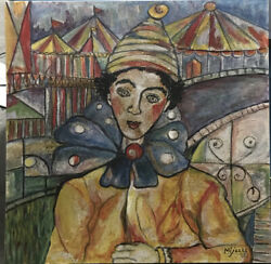 Jose Maria Mijares 20andrdquox 20andrdquo 1986 Painting Clown Without Frame