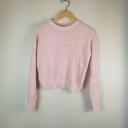 Urban Outfitters women Sweater Cropped Sweater Pink XS cable knit $13.99