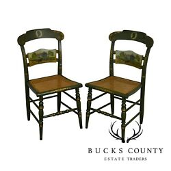 Hitchcock The Adams Old House Limited Edition Hand Painted Pair Side Chairs C