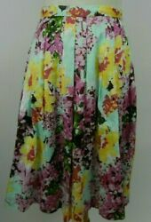Sunset Rd Pink Yellow Mint Green Floral Skirt Pleated Pockets Lined Cotton 8