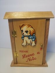 Vintage Hanging Wooden Door Box With Dog Please Leave A Note Japan
