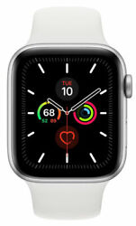 Apple Watch Series 5 Silver Aluminium With White Sports Band 44 Mm Gps