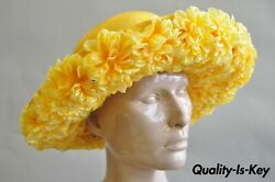 Vintage Jack Mcconnell Boutique Yellow Straw Bejeweled Flower Petal Derby Hat