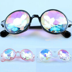 Festival Party Rave Kaleidoscope Rainbow Round Glasses Crystal Lens Sunglasses $8.16