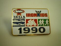 Vtg IRON KIDS Earthgrains RAINBO Bread Bakery 1990 Triathlon LAPEL Cap HAT PIN