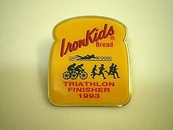 IRON KIDS Earthgrains RAINBO Bread Bakery 1993 Triathlon Finisher LAPEL HAT PIN