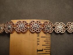 Antique 18k Solid Pink Gold Bracelet/ Rose Cut Diamonds/6.5 Inches/ Very Heavy.
