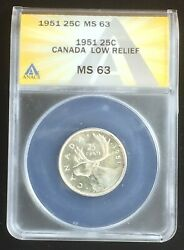 1951 Canada Low Relief Quarter Anacs Ms63 Key Variety