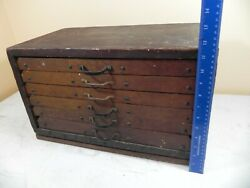 Antique Wooden 6 Drawer Machinist Chest Tool Box