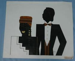Original June Marie Artwork Of African American Man And Woman With A Deco Era Look