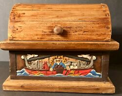 Noahand039s Ark Tabletop Wooden Chest They Came Two By Two Hand Carved And Painted