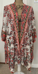 Chico's Floral Print Knit Ruana/topper - Size S/m