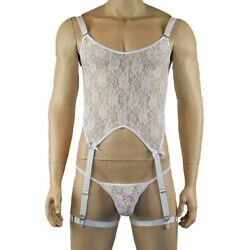 Mens Sexy Lace Corset Top Lace G String And Leg Bands Plus Other Colours