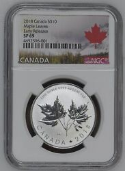 Maple Leaves 2018 Canada 1/2 Oz Silver Coin 10 Ngc Sp 69 Er