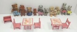 Sylvanian Forest Families Bears Mice Pigs Rabbits And Tea Set Furniture