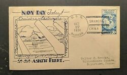 1934 Uss Barker Navy Day Cover To Boyertown Pa Shanghai China Cancel